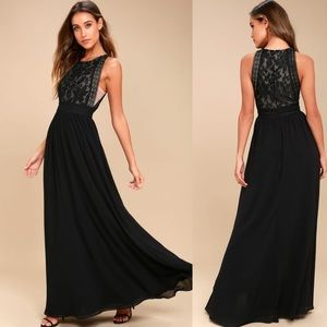 Lulu's Forever and Always Black Lace Maxi Dress
